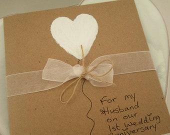 1st Wedding Anniversary, hand painted, husband card, wife card, rustic wedding, 1st anniversary card, anniversary card, first anniversary