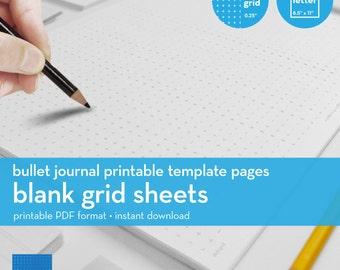 Blank Grid Sheets | Bullet Journal Printable Template | Plus grid | Letter size