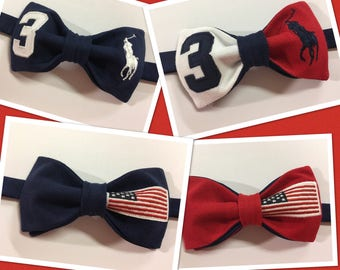 Handmade Mens Blue/White/Red  Upcycled Bow Tie Pre-tied Adjustable Strap,Repurposed High Fashion, Neckwear, Wedding , Gift for Him, Birthday