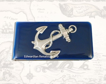 Anchor Money Clip Inlaid in Hand Painted Enamel Navy Glossy Finish Admirality Nautical Design with Personalized and Color Options