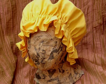 Yellow cotton Colonial frontier Prairie Bonnet / Cap Sun Hat