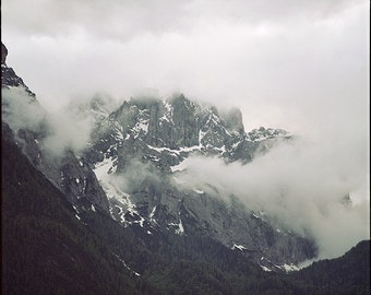 Austrian Mountains, Nebeltag, Alps, Signed Photography Giclee Print, Limited Edition, Analog, Square Format, Landscape, Large scale Art