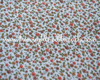 Sweet Lil Floral  - Vintage Fabric New Old Stock Orange Browns 35 inches wide