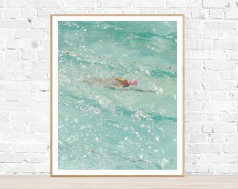 "Vertical Photo : ""Pink Cap Minty Water"" - thebungalow22 - Swimming Pool Photography - Swimmer Photography - Swimmer - Swimmer Print - Swim"
