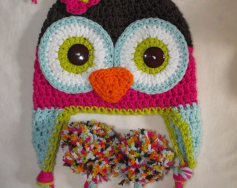 Baby hat,  baby shower gift, owl hat, baby hat, crochet baby hat, crochet owl hat with pom poms, crochet kids hat, owl hat, baby animal hat
