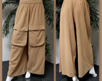 ComfyPlus Designer Lagenlook Cotton Gauze Plus size pants with Big front Pockets. Loose Fit