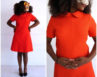 Vintage 60's Bright Orange Dotted Mod Mini Dress with Peter Pan Collar | Small/Medium