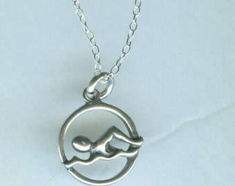 Sterling SWIMMER Pendant and 22 Inch Chain -