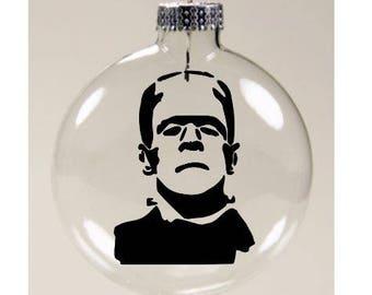 Frankenstein Monster Christmas Ornament Glass Disc Holiday Horror Merch Massacre