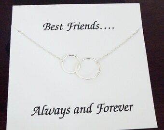 Double Half Flat Circle Infinity Silver Necklace ~~Personalized Jewelry Gift Card for Sister, Best Friend, Sister in Law, Bridal Party