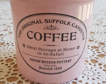 """Henry Watson Pottery """"The Original Suffolk"""" Coffee Canister RARE Pink!"""