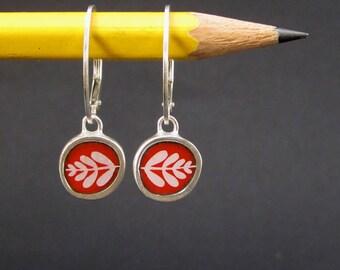 Leaf Earrings - Vitreous Enamel and Sterling Silver Earrings - Wear 2 Ways - Modern Earrings in Orient Red and Black