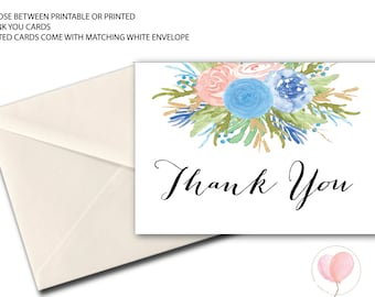 pink and blue floral Thank You Card // Folded Thank You // A7 // Watercolor // flowers // Instant Download // RALEIGH COLLECTION