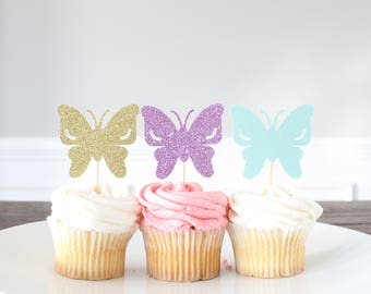 Butterfly Cupcake Toppers, Glitter Cutouts, Party Decorations, Dessert Picks, Sparkle Toppers, Birthday Decor, Summer, One Dozen, 12 Count