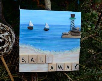 Sail Away, Sailboat art, lighthouse art, sea glass art,sailing art,beach scene, scrabble tile art, lighthouse art, beach decor, nautical art