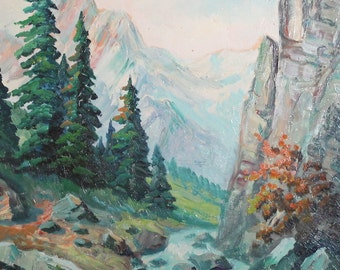 Antique oil painting forest river