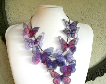 I Will Fly Away - Handmade Purple and Pink Silk Organza Butterflies Necklace, Statement Necklace - One of a Kind