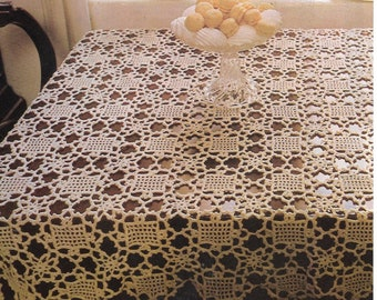 "Instant PDF Digital Download, Vintage Tablecloth Crochet Pattern, 53"" square, Crochet Cotton, 1970's, Vintage, Printable"