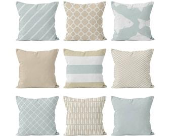 Hamptons Style Pillow Cover Set, Neutral Throw Pillow Cover, Beige and Pale Blue Pillow Covers, Nautical Beach Pillow Cover Home Decor