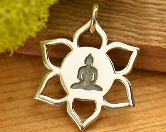 Sterling Silver, Meditation Buddha, Lotus Charm, Lotus Flower Charm, Lotus Jewelry, Buddha Jewelry, Meditation Jewelry, Yoga Jewelry,