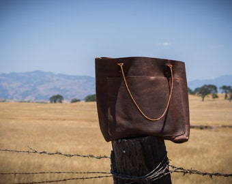 The Rustic Milly Tote Bag | Brown Kodiak Leather | Full Grain Leather | Thin Straps