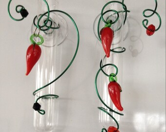 Red Chili Pepper 3 inch Suction Window Vase choose single or double chili peppers