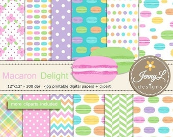 50% OFF Macaron Digital Papers and cliparts, Pastel Cookie, Sweets, French Macarons for Digital Scrapbooking, Birthday invitations, Planners