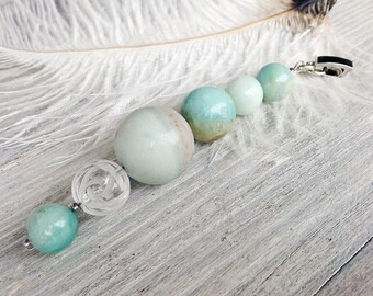 Gemstone pendant leather necklace amazonite quartz pendant green blue necklace leather cord universal jewelry gift for her gift for women