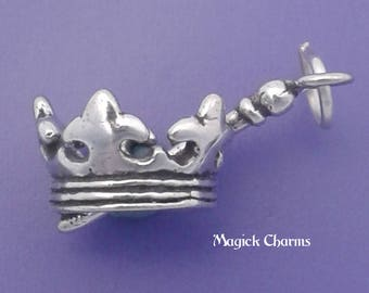 CROWN With SCEPTER Charm .925 Sterling Silver Princess, Queen Fairytale Pendant - lp4021