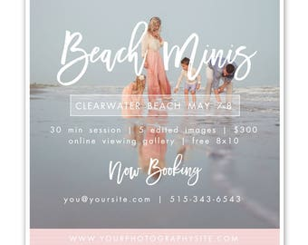 Beach Mini Session Marketing Template, 5x5 Photographer Marketing Template, Beach Sessions