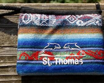 St. Thomas, Guatemala, Woven, Fabric, Dolphin, Zipper Pouch, Accessory Case, Guatemalan Fabric, Vintage, Wristlet, Pineda, Wool, Ecuador