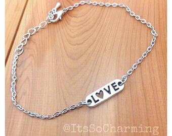 Charm bracelet -charm anklet - heart charm jewelry - love charm - handmade