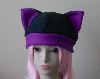 Fleece Cat Hat / BLACK + DEEP PURPLE Beanie Style Cap Cute Anime Neko Cosplay Cat Ears Kitty Ears Kawaii Japanese Fashion