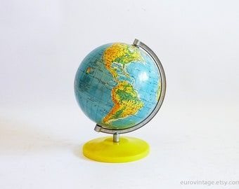 "Vintage Small World Globe 6"" inches 70s World Map Yellow Base"