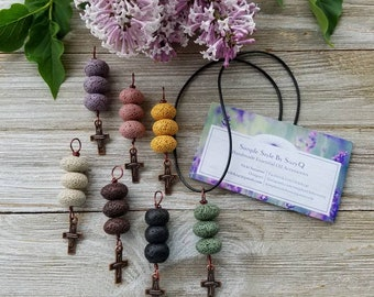 Bronze Cross Charm, Essential oils Diffuser Necklace, Personal Diffuser Jewelry, Aromatherapy Jewelry, Mixed Colors.
