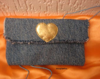 Wallet coin purse made of recycled denim, gold heart, fringe
