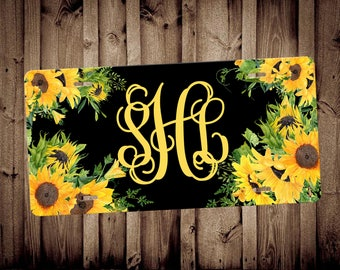 Sunflower monogram car tag monogram car tag car accessory vanity car tag, auto decor, new car gift,floral license plate,custom license plate