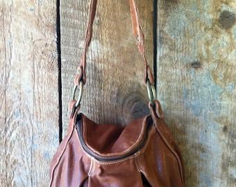 Brown Leather Handbag- Pleated Leather Purse