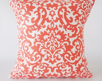 16x16 Damask Coral Pillow Cover,  Damask pillow, decorative pillow cover, throw pillow, pillow, home decor, bedding