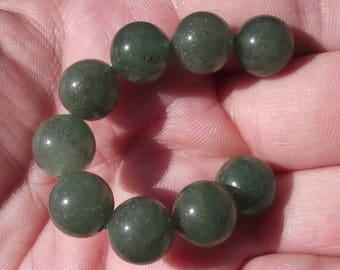 2 ROUND 10 MM GREEN AVENTURINE BEADS