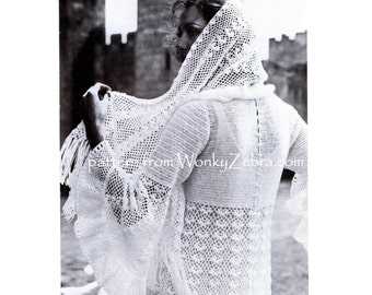 Vintage Crochet wedding dress and stole veil wrap crocheted patterns Pattern PDF 822 from WonkyZebra
