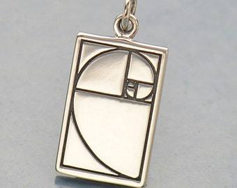 Sterling Silver, Golden Ratio, Golden Ratio Charm, Silver Golden Ratio, Geometric Charm, Geometric Jewelry, Mathematics Charm, Math Charm
