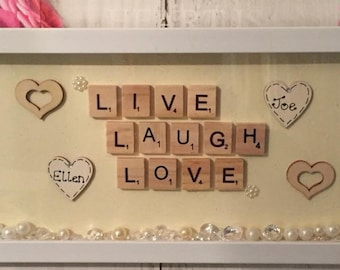 Simple live, laugh, love personalised frame homemade, homemade frame