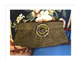 matte gold one of a kind clutch bag says tribal boho chic