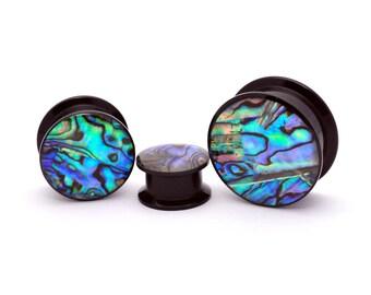 Black Acrylic Embedded Abalone Plugs (PA-414) gauges - 8g, 6g, 4g, 2g, 0g, 00g, 7/16, 1/2, 9/16, 5/8, 3/4, 7/8, 1 inch