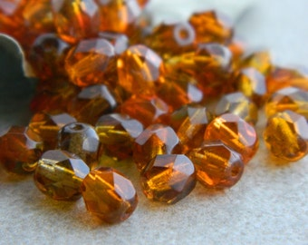 6mm Topaz & Amber Orange Bicolour Beads, Czech Glass Beads, Fire Polished Faceted Round Beads, Transparent bicolour  (40pcs) 2.4.5