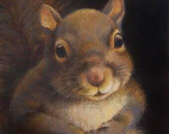 Squirrel Portrait Print - Squirrel Art- Squirrel Painting - Squirrel Print