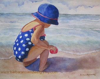 Nursery Wall Art, Beach Girl Art Print, Beach Painting, Nursery Girl Decor, Beach Watercolor Painting, Child Beach Decor, Polka Dot Girl Art
