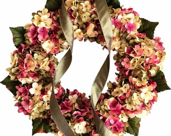Spring Wreaths | Hydrangea Wreath | Blended Hydrangea Flowers | Front Door Wreaths | Fall Wreath | Summer Wreath