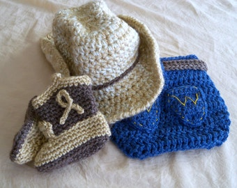 Baby Cowboy Hat , Cover and Boots Set - Baby Hat - Customize your Set - Baby Booties - Western Set  Photo Prop - by JoJo's Bootique